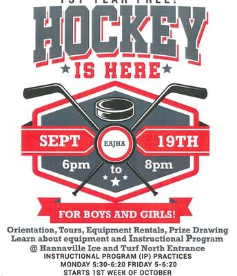 Hockey registration Thursday, Sept 19 6:00 p.m. - 8:00 p.m.
