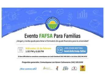 FAFSA Information/Evento FAFSA Para Familias