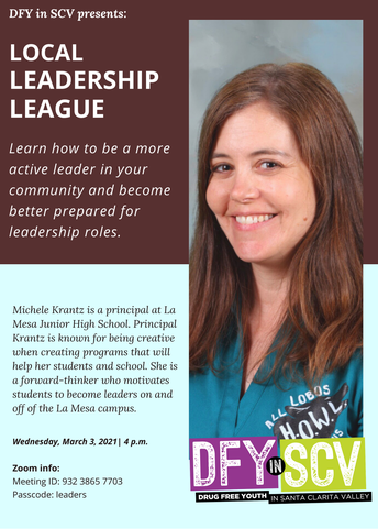 Mrs. Krantz will be the Presenter for this Week's DFY Local Leadership League