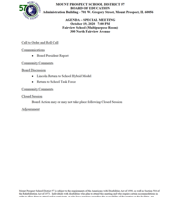 10/19/20 Meeting Agenda