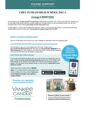 DECA's Yankee Candle Fundraiser