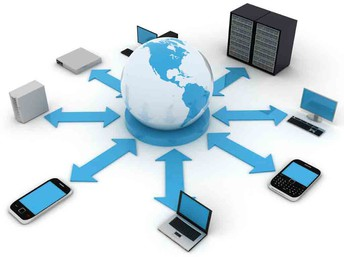 image of connected devices with globe in the center