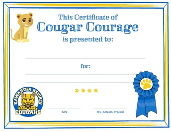 Certificate of Cougar Courage