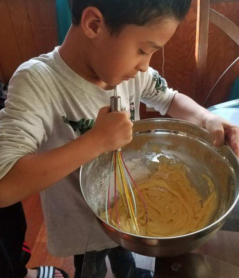 Mixing ingredients for the cake