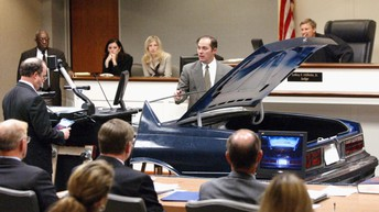 lawyers present the DC Sniper car's trunk as evidence