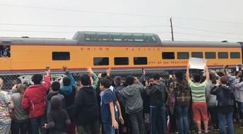 Hildebrandt students waving at the train