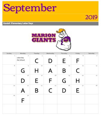 Sept. Letter Calendar