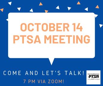 October 14 - PTSA Meeting