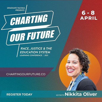 """A colorful poster highlights the event """"charting our future"""" with event details such as the date April 6-8 in the top right corner. At the bottom right is a photo of speaker Nikkita Oliver."""