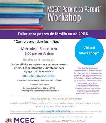 """Taller para padres de familia de EPISD - """"Como aprenden los niños"""""""