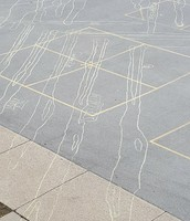 Rooftop view of 5th grade shadow drawings
