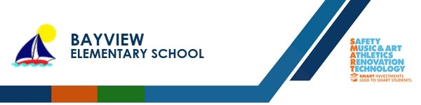 A graphic banner that shows Bayview Elementary School's name and logo with the SMART logo