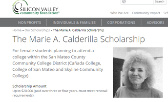 Marie A. Calderilla Scholarship (up to $20,000)
