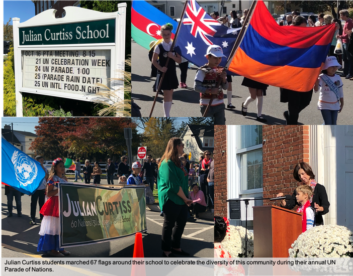 Students at Julian Curtiss carry their nation's flags during the annual UN Parade of Nations