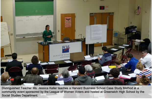 Distinguished Teacher Ms. Jessica Keller teaches a Harvard Business School Case Study