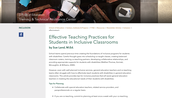 Effective Teaching Practices of Students in Inclusive classrooms