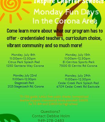 Inspire's Monday Fun Days in the Corona Area!