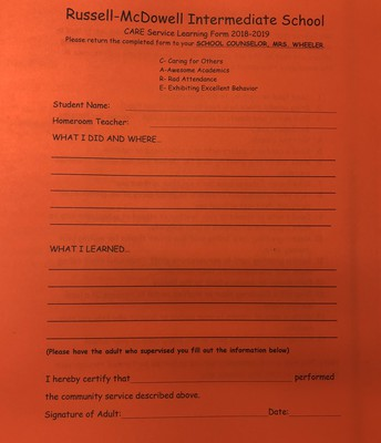 Service Form: Fill out after completing an act of service