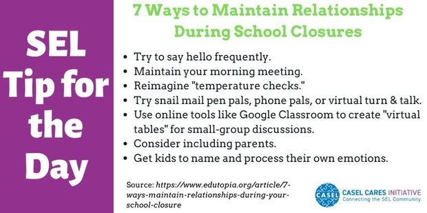 Even during social distancing, we can use Social-Emotional strategies to build relationships. Check out these useful tips for maintaining relationships during school closures from Edutopia
