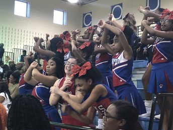 Cheering our team to victory!