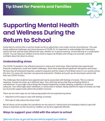 Supporting Mental Health and Wellness During the Return to School