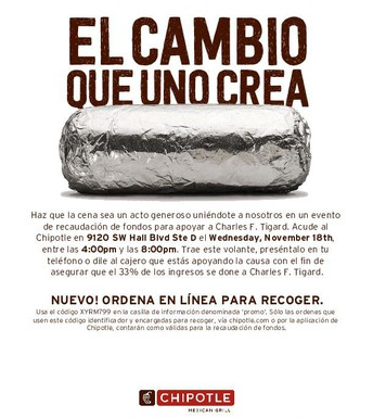 Chipotle Dining Night Out - Link to CFT Calendar