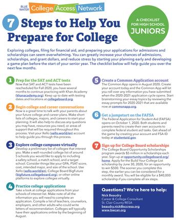 College Preparation: A Checklist for High School Juniors - Grade 11