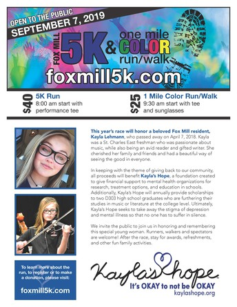 SAVE THE DATE!  Fox Mill 5K & Color Run Honoring Kayla Lehmann