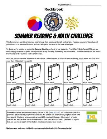 Rockbrook Summer Reading and Math Challenge