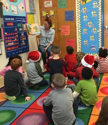 Mrs. Steinen visits classes as a guest reader