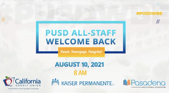 A photo of of the PUSD All-Staff Welcome Back: Rest. Reengage. Reignite!