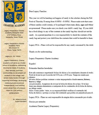 Halloween candy letter/Carta de dulces de Halloween