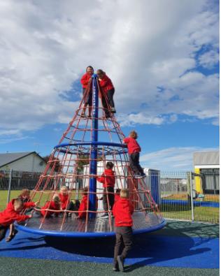 Kids Hub - look how high we are!