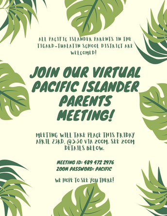 Tonight's Virtual Meeting for Pacific Islander Parents