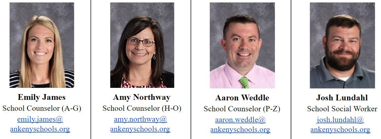 Individual images of all three counselors and PRMS Social Worker + contact info