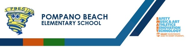 A graphic banner that shows Pompano Beach Elementary school's name and SMART logo