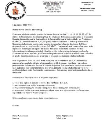 las cartas de prueba del 3rd-5th grado fueron enviadas a casa el viernes