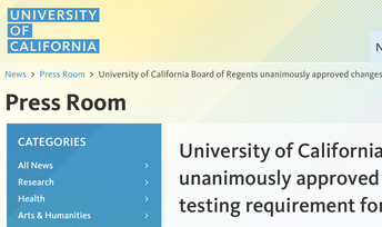 UC Testing Policy Update