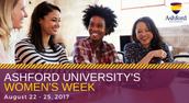 Ashford University Women's Week August 22-25, 2017