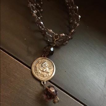 Purple Bead & Coin Choker $25