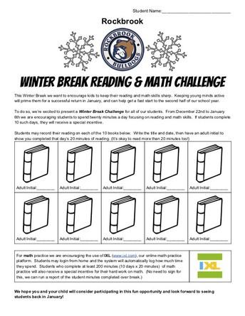 Rockbrook Winter Break Challenge, Reading and Math!