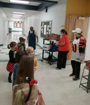 The cafeteria ladies handed out candy!