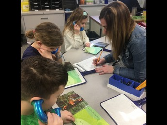 Mandy has students read into whisper phones as she listens and tracks them on the back of her lesson plan page.