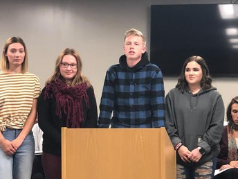 CCHS students spoke of their experience at Communications Camp during the Board of Education Meeting.