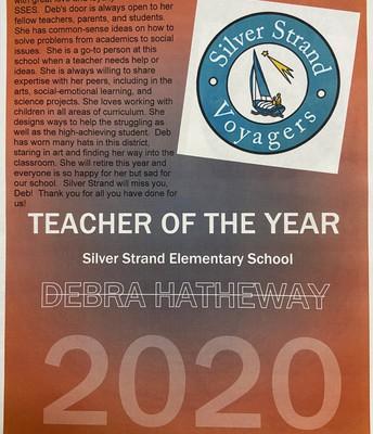 Congratulations, Deb Hatheway, SSES Teacher of the Year!