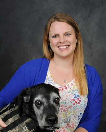 CHS math teacher Ms. Megan Wessels and service dog Bailey