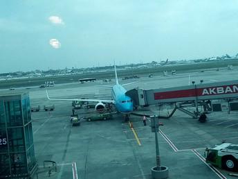 O avião da KLM em Amesterdão