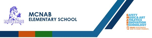 A graphic banner that shows McNab Elementary  school's name and logo with the SMART logo