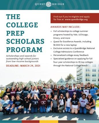 The 2021 College Prep Scholars Program is now open!