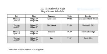 Boys Soccer Schedule